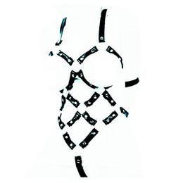 Traje de cuero completo en venta-2016 Nuevo Design Bondage Restraints Kit Mujeres Esclavo Full Body Bind Cinturón Cuero Trajes Sexy Vestido Crazy Fetish Arneses Bondage Sex Toys