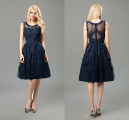 Cheap Evening Dresses Short Navy Round Neck Sleeveless A Line Appliques Lace Beaded Knee Length Formal Prom Party Dress
