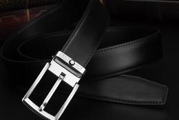 Cinturones de cuero en Línea-La calidad 2016 nuevo Mens ocasional del cuero genuino abrocha los hombres clásicos de la correa de cuero de la hebilla del Pin 105-125 cm