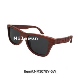creative red wood sunglasses with embossed laser engraving temples