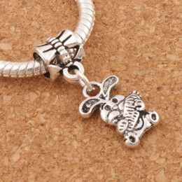 The Easter Bunny Rabbit Carrot Charm Beads 100pcs lot 9.8x25.5mm Tibetan Silver Fit European Bracelets Jewelry DIY B059