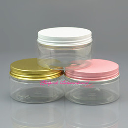 50pcs lot 100g PET Bottle Gorgeous Gold Aluminum Cap 100ml Transparent Plastic Container Cream Jar 3.5oz canning jars wide mouth Cosmetics