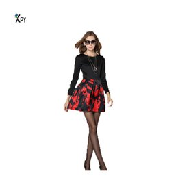 [XPY] Casual Office Dress New Fashion Round Collar Black And Red Dress Autumn And Winter Bottoming Dress Women