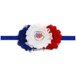 Descuento bandas para la cabeza de encaje blanco para bebés 200pcs blanco, azul de la flor de la cinta - Patriótico Photo Prop - Rosetón del cordón Bebé Headband