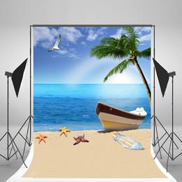 Descuento fondos de verano 5x7ft (150x210cm) Fondos fotográficos de la playa Blue Sky Seagull Summer Backdrops for Baby Photo Studio