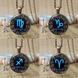 new 12 styles of Zodiac Signs pendant Necklace Vintage constellation symbol charm jewelry Astrology horoscope jewelry gifts 12pcs T1058