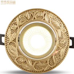 Wholesale high-end full-copper spotlights 3w 5w 7w 9w COB Ceiling pastoral gold golden leaf pattern Home Commercial LED Downlight Round