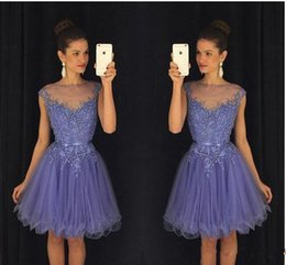 Lavender Sheer Short 8th-12th Grade Homecoming Dresses Cap Sleeves Lace Appliques Beaded with Belt Backless Mini Cocktail Party Dresses