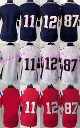 Maillots de maillot de football de rugby d'élite des femmes BRADY # 12 GRONKOWSKI # 87 EDELMAN # 11 bleu blanc rouge drop 1pcs freeshipping à partir de nouvelle femme jersey fournisseurs