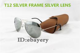 Lente de espejo en venta-Las mejores lentes de espejo de plata retras de las gafas de sol del piloto de las mujeres de los hombres de la vendimia de la calidad los 58MM los 62MM UV400 marcan las lentes de los vidrios de sol con la caja,