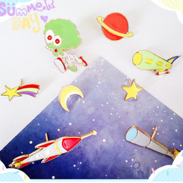 Promotion télescope étoiles En gros-2016 vaisseau spatial mode Meteor Alien Telescope Dirigeable Rocket Red Planet Star Lune Broche Pins Broche Lapel Broche bricos