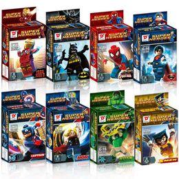 Wholesale-Super Heroes Mini Figures&Big Figures 8pcs Set Superman Family Protecting The Earth DIY Building Blocks Learning Toys