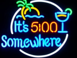 It s 5 00 Somewhere Real Glass Neon Sign Beer Bar