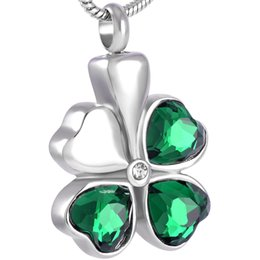 IJD8315 Hot Selling Heart Crystal Necklace Fine Fancy Stainless Steel Four Leaf Clover Shaped Cremation Urn Jewelry