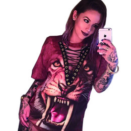 Promotion mini-roches T-Shirt Robe Femme 2017 Nouvelle Mode Punk Rock Design Mode Animal Print Halloween Lace Up Femmes Top Chemises Femmes Robe W880649