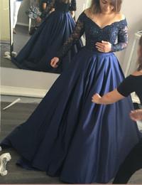 Wholesale 2017 Bleu marine robe de bal robe de bal sur l épaule Sheer à manches longues perles en dentelle de cristal drapé robes en satin de soirée Evening Wear Formal