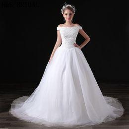 New Arrival White Off Shoulder Wedding Dresses Sequins Beaded Tulle Elegance Custom Made Wedding Gowns Bridal Dresses A033