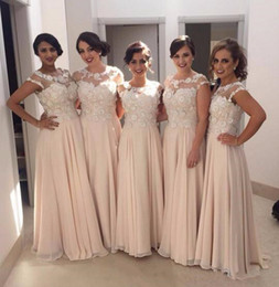 2017 Elegant Lace Applique Chiffon Bridesmaid Dresses Wedding Guest Dress Sheer Capped Sleeve Back Zipper Sweep Train Cheap Formal Gown