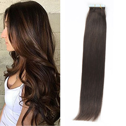 Top Quality 20pcs set 24inch straight Glue Skin Weft PU Tape in Human Hair Extensions Brazilian REMY in stock free shipping