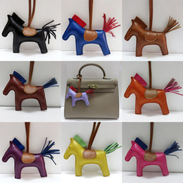 Wholesale Leather Tassel Horse Bag Charms For Handbags Decoration Colors High end Handmade Sheepskin Rodeo Horse Bag Charm