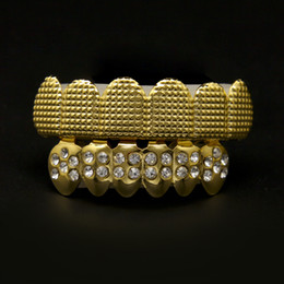 Wholesale Real Shiny K Gold Plated Grills Top Bottom Bar Grills Hip Hop Row Mouth Grill Upper Lower Teeth