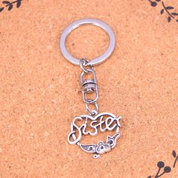 New Fashion heart sister flower Keychains Vintage Antique Silver plated Keyholder fashion Solid Pendant Keyring gift