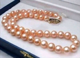 10-11MM REAL SOUTH SEA PINK PEARL NECKLACE 18 INCH 14k YELLOW GOLD CLASP