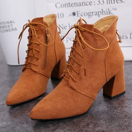 European and American fashion high heel female short boots V tie suede rough heel thin leisure Martin and bare boots