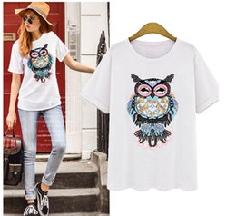 PT107 owl t shirt women tops white blouse short sleeve summer cotton