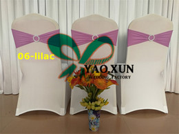 Wholesale Price White Spandex Chair Covers With Lilac lycra Chair Band Free Shipping