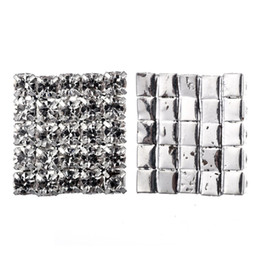 100pcs 16*16mm Square Rhinestone Embellishment Buttons Flat Back DIY Crystal Buckles Factory Price