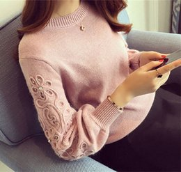 Wholesale Women Clothing Sweater Pink Color Batwing Sleeve with Pattern Application O Diamond Neck Pullover Knitted Sweater Mujer S40