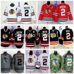 Promotion série de hockey 2016 Chicago Blackhawks Duncan Keith Jersey # 2 Série Stade Keith Winter Classic Maillot Skull Black Ice Charcoal Cross Check