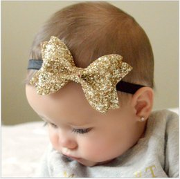 Promotion bébé props accessoires pour la photographie 2017 New Sequins Infantiles Bowknot Headbands Cute Baby Photographie Props Newborn Cheveux Bande Enfants Headdresses Accessoires 50pcs / lot