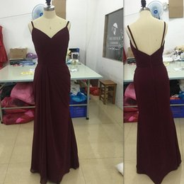 Burgundy Bridesmaid Dresses Cheap Sexy Deep V Neck Spaghetti Straps Open Back Wedding Party Gowns Chiffon Ruched Long Bridesmaids Dress