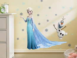 Wholesale Elsa Olaf Wall Stickers Frozen Movie Wall Decals Romance Kids Sticker Children Room Removable PVC Cartoon Baby Wall Stickers Home Decor