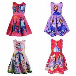 Nouvelles robes de filles de noël en Ligne-2017 New Baby Girls Clothing Ma Petite Poney Sophia Trolls Mermaid Frozen Mode Robe Sans Manche Enfants Coton Noël Enfant Vêtements