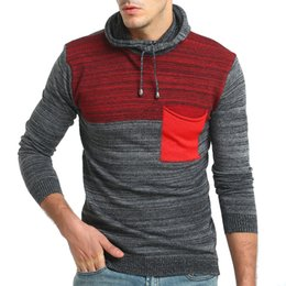 Free Shipping 2017 New Autumn and Winter Fashion Spell Color Hooded Casual Long-sleeved Sweater Men Slim Thick Sweater
