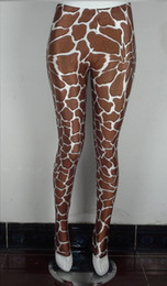 Vente en gros - YIWU YOUNGA 2016 Wide Hips Plus Size Brown Baby Giraffe Print Haute taille Polirrines de longueur totale Pantalons de course Vêtements de fitness à partir de girafe haute fabricateur