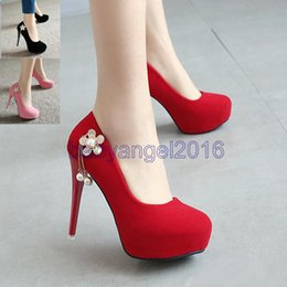 Promotion taille 34 talon rose 2017 Nouveau 12cm rose noir rouge strass perles mariage chaussures talons hauts sexy taille 34 à 39