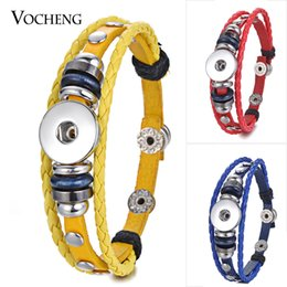 VOCHENG NOOSA Leather Bracelet Ginger Snap Charms Braided 18mm Interchangeable Jewelry NN-461