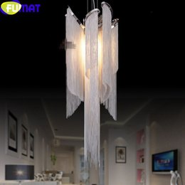 Wholesale Bran New Chain Tassel Light Fixtures LED Shaped Aluminum Chain Chandelier Luxury Chain Chandelier Lights LED Lamp EMS Free