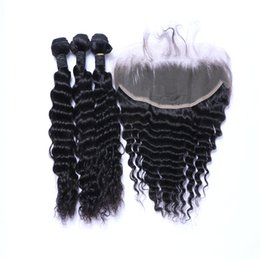 Wholesale 50 Off Dyeable Peruvian Hair Products Brazilian Virgin Hair Deep Wave 13*4 Lace Frontal with 3 Bundles Human Hair Weave No Tangle