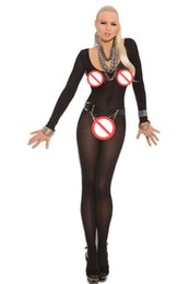 Wholesale Adult Lingerie Sexy Underwear For Women Body Stocking Open Crotch Long Sleeve Bodystocking Sexi Lingerie Bodysuit Black Flesh Opaque D79796