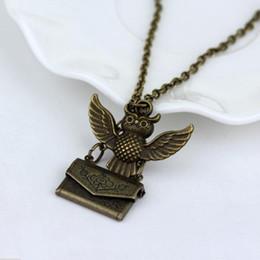 Wholesale owl Message H P Hogwarts Acceptance Letter Envelope Pendant Necklace Locket Vintage pendant