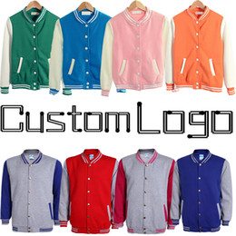 Plain Blank Cheap College Team Uniform Women Men Baseball Jacket Custom Logo Letterman Varsity Coats Red Navy Blue Orange Green Black Grey