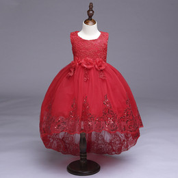 Top Quality 2017 Girls Pageant Dresses Jewel Neck High Low Hem Shiny Sequins Red Lace and Tulle Pageant Gowns with Bow Sash