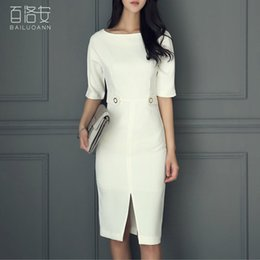 Wholesale Los Ann summer wear new dress a characters bring pure color cultivate one s morality OL temperament bag hip long dress skirt