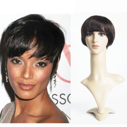 For Women Short Wigs For Black Women 6inch Brazilian Original Human Hair Short Straight Machine Made Lace Front Wig