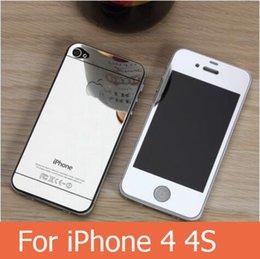 Écrans pourpres à vendre-Avant et arrière iphone 4 miroir couleur verre trempé écran de protection or / rose or / noir / argent / violet / bleu couleur